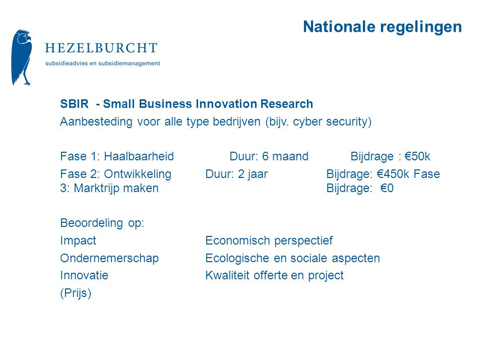 Nationale regelingen SBIR - Small Business Innovation Research