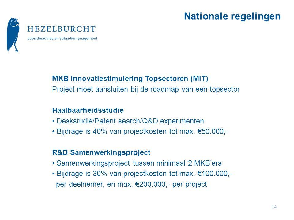 Nationale regelingen MKB Innovatiestimulering Topsectoren (MIT)