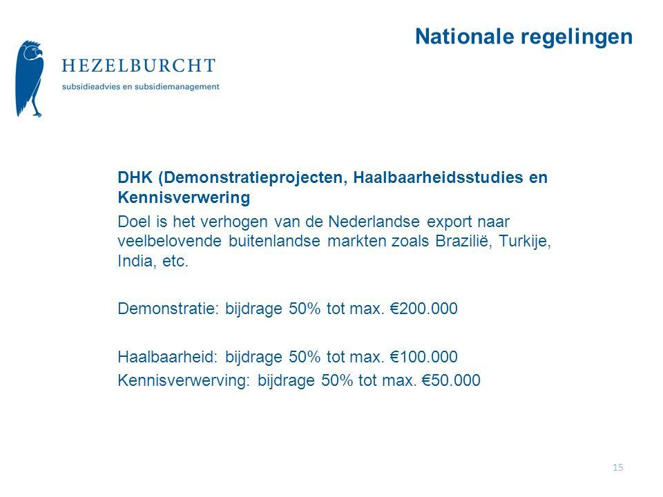 Nationale regelingen DHK (Demonstratieprojecten, Haalbaarheidsstudies en Kennisverwering.