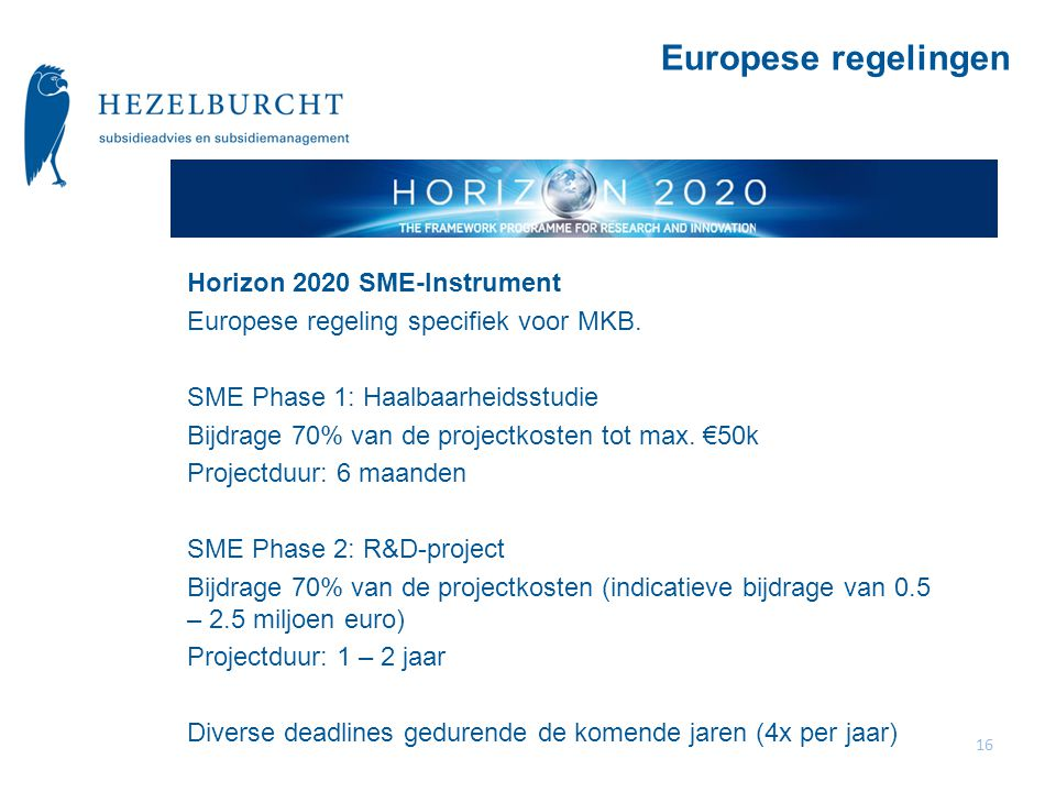 Europese regelingen Horizon 2020 SME-Instrument