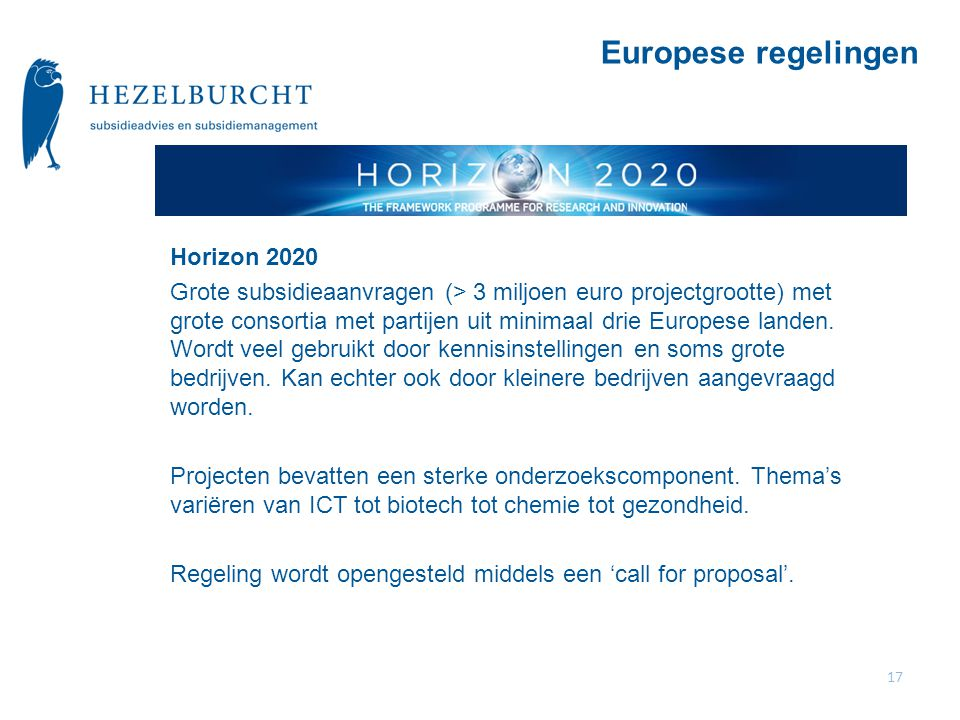 Europese regelingen Horizon 2020