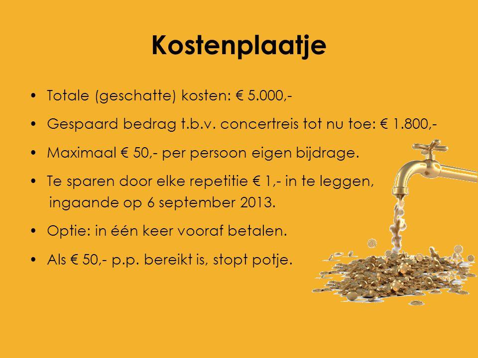 Kostenplaatje Totale (geschatte) kosten: € 5.000,-