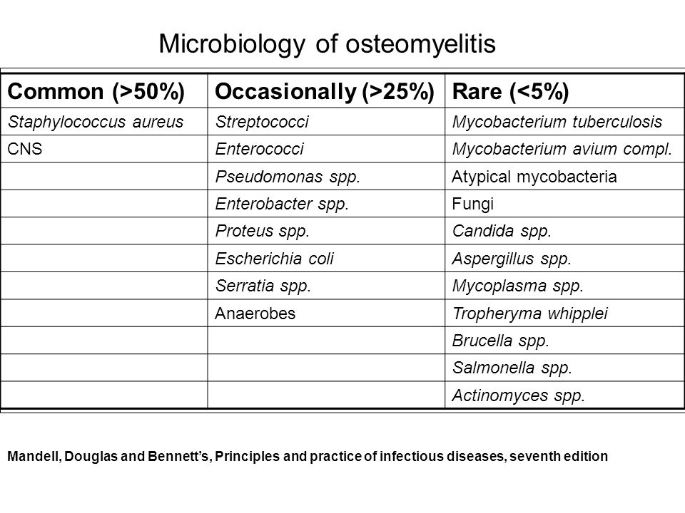 Microbiology of osteomyelitis