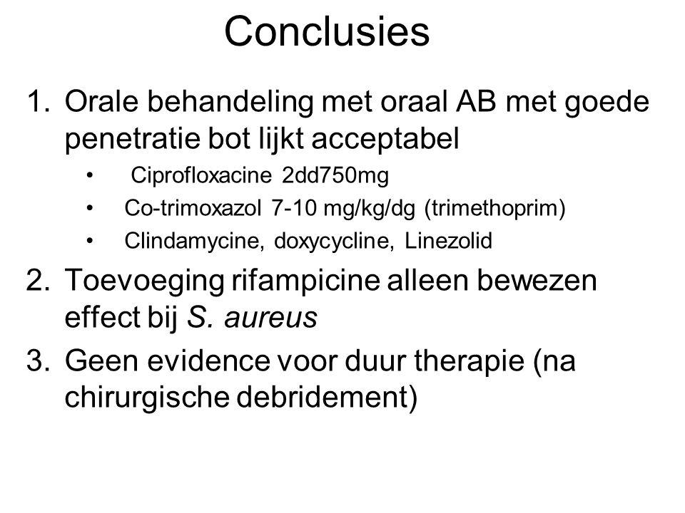Conclusies Orale behandeling met oraal AB met goede penetratie bot lijkt acceptabel. Ciprofloxacine 2dd750mg.