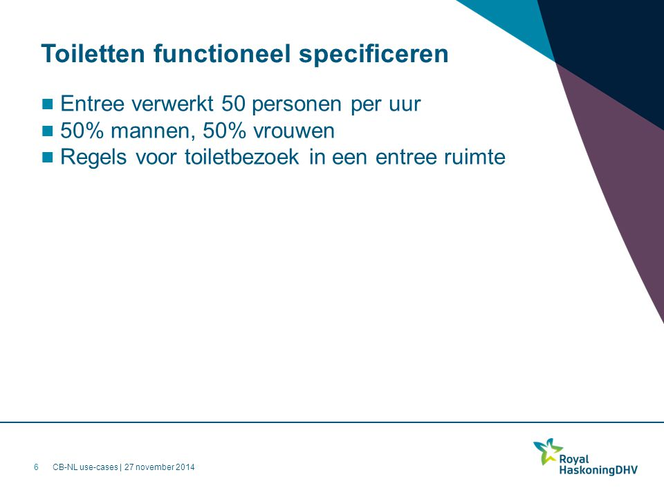 Toiletten functioneel specificeren