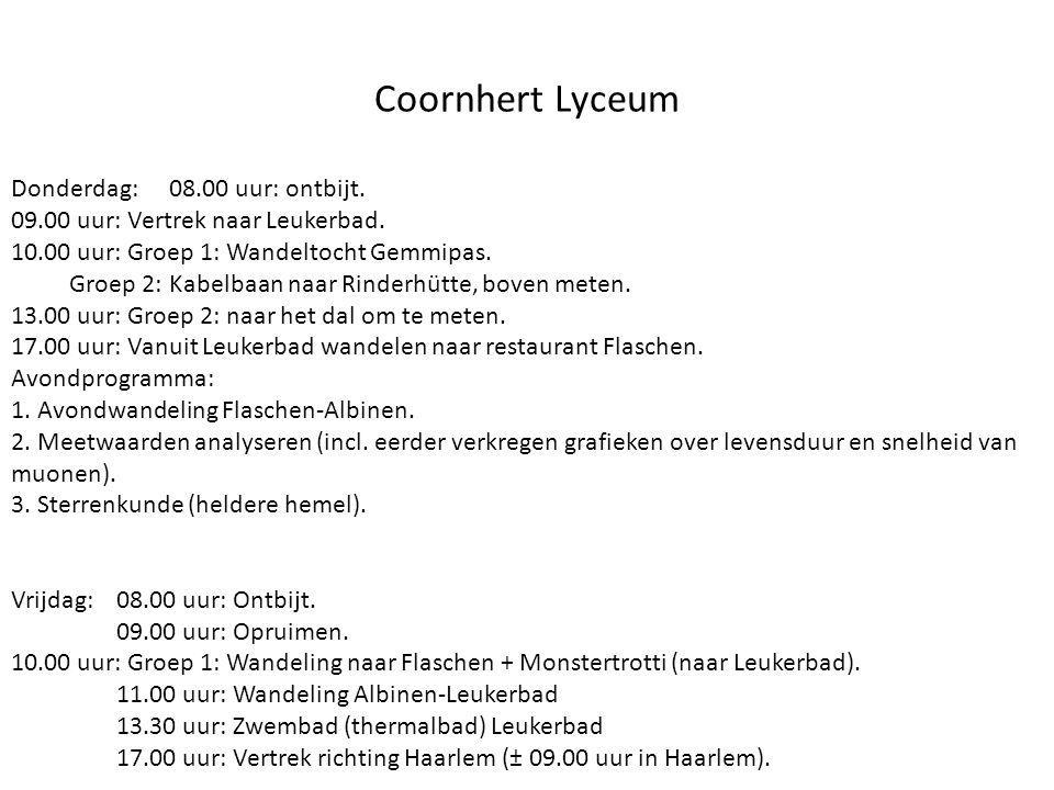 Coornhert Lyceum Donderdag: 08.00 uur: ontbijt.