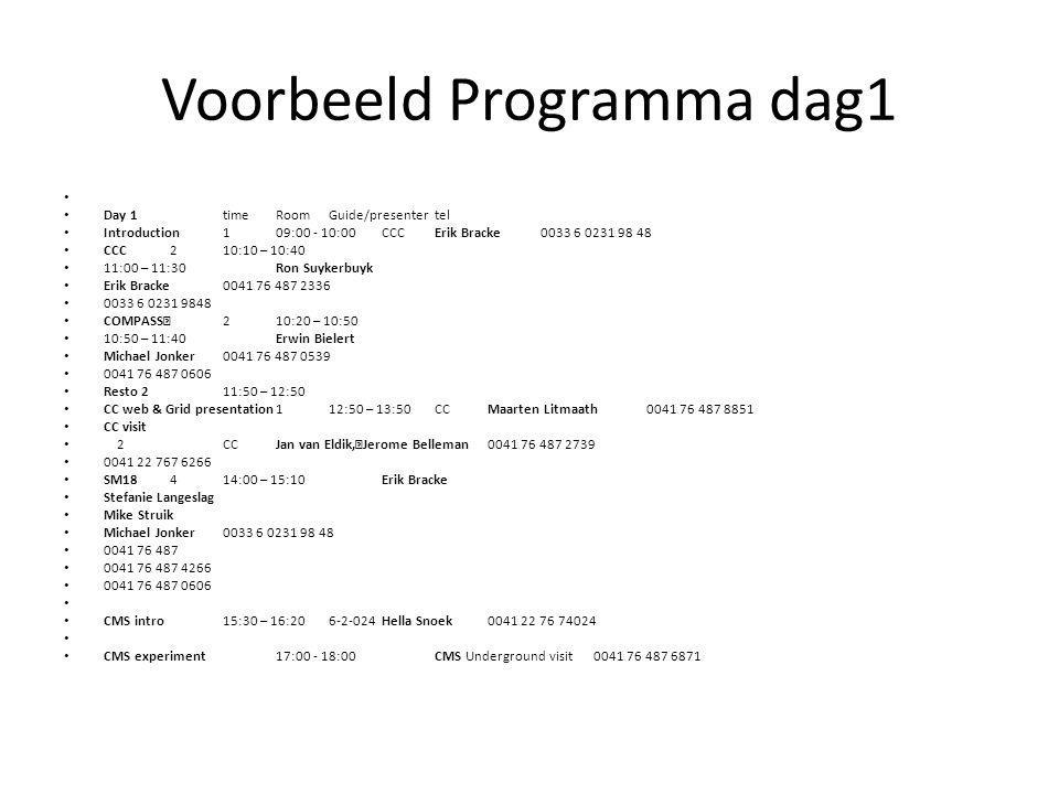 Voorbeeld Programma dag1