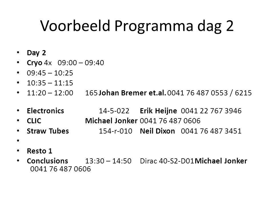 Voorbeeld Programma dag 2