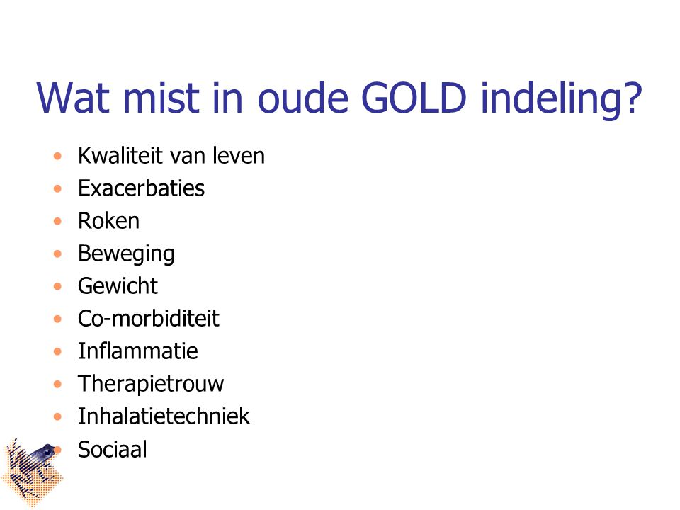 Wat mist in oude GOLD indeling