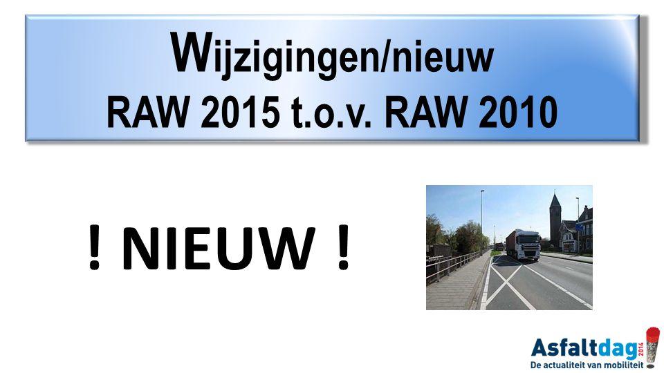 Wijzigingen/nieuw RAW 2015 t.o.v. RAW 2010 ! NIEUW !
