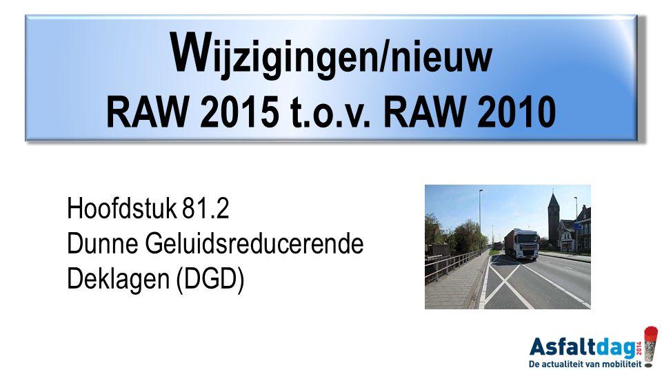 Wijzigingen/nieuw RAW 2015 t.o.v. RAW 2010 Hoofdstuk 81.2