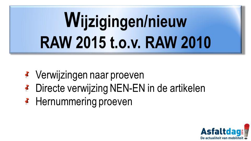 Wijzigingen/nieuw RAW 2015 t.o.v. RAW 2010 Verwijzingen naar proeven