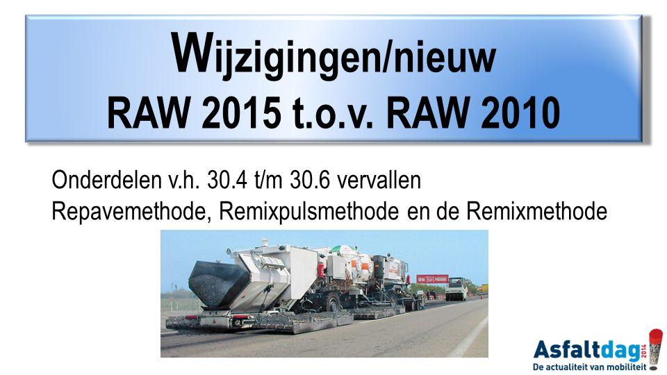 Wijzigingen/nieuw RAW 2015 t.o.v. RAW 2010