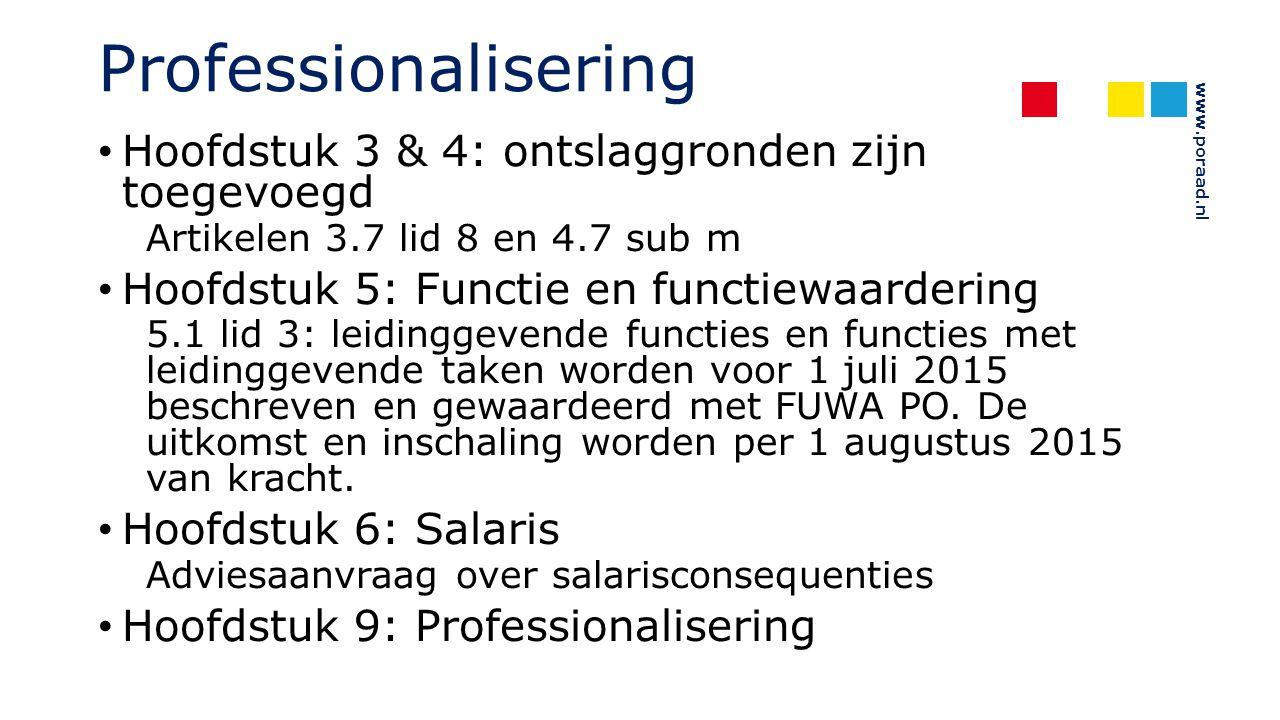 Professionalisering Hoofdstuk 3 & 4: ontslaggronden zijn toegevoegd