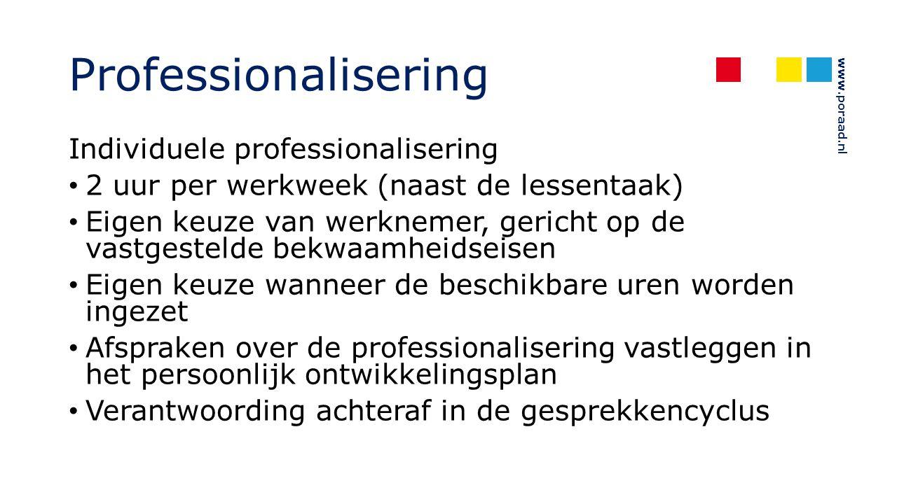 Professionalisering Individuele professionalisering
