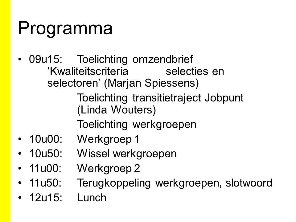 Programma 09u15: Toelichting omzendbrief 'Kwaliteitscriteria selecties en selectoren' (Marjan Spiessens)