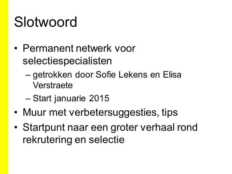 Slotwoord Permanent netwerk voor selectiespecialisten