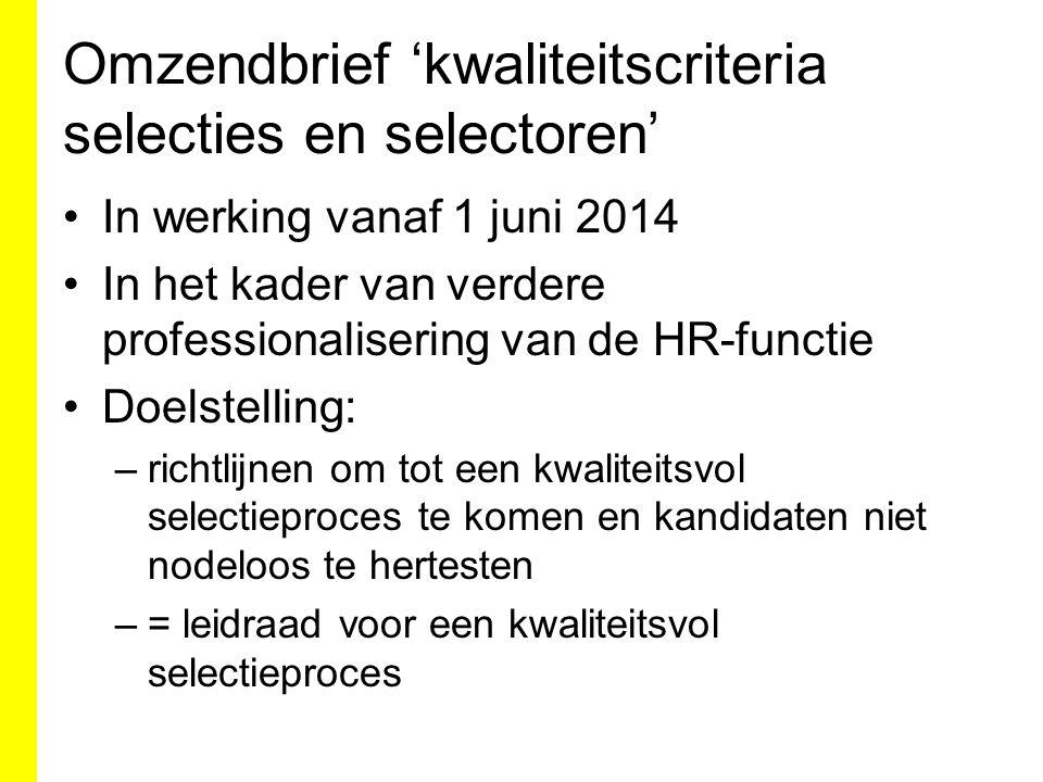 Omzendbrief 'kwaliteitscriteria selecties en selectoren'
