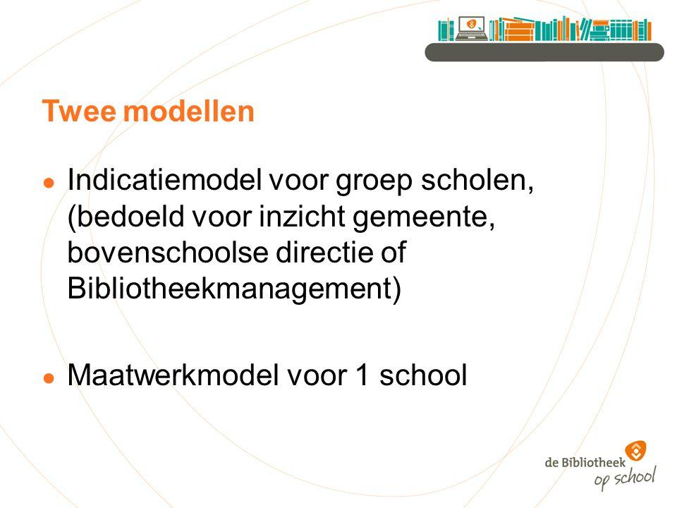 Twee modellen Indicatiemodel voor groep scholen, (bedoeld voor inzicht gemeente, bovenschoolse directie of Bibliotheekmanagement)