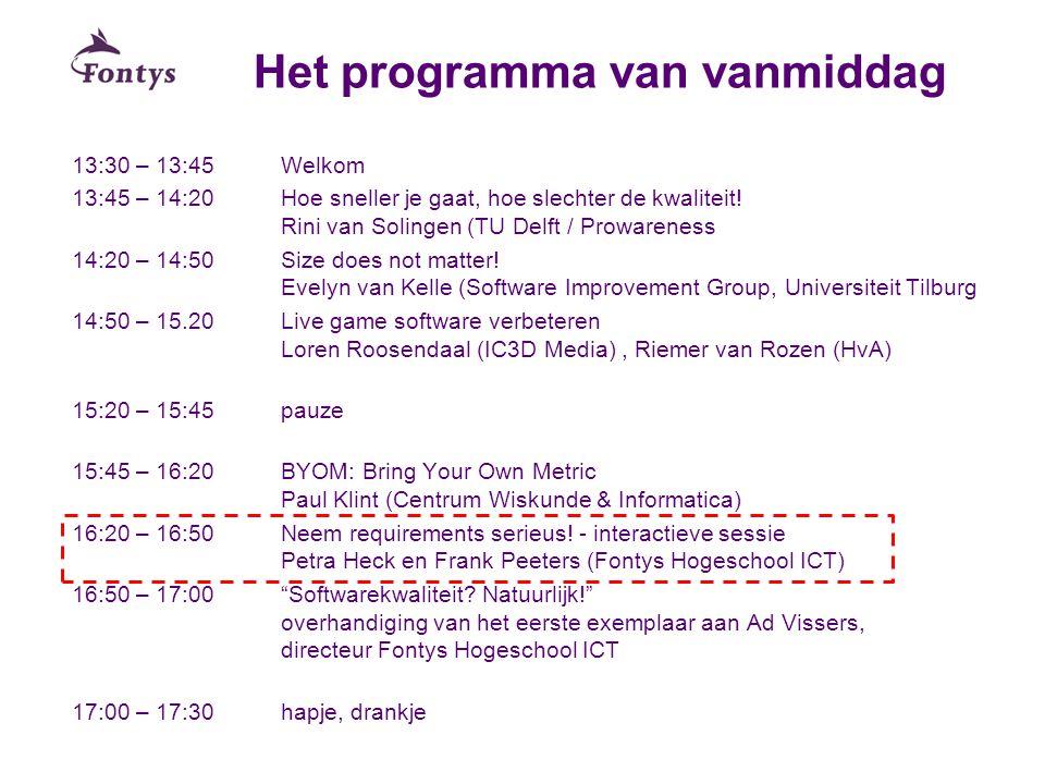 Het programma van vanmiddag