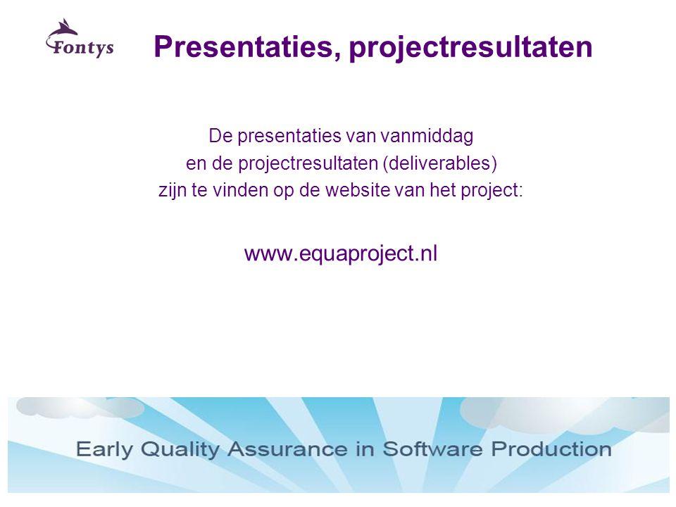 Presentaties, projectresultaten