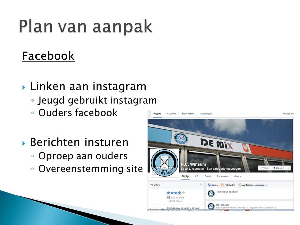 Plan van aanpak Facebook Linken aan instagram Berichten insturen