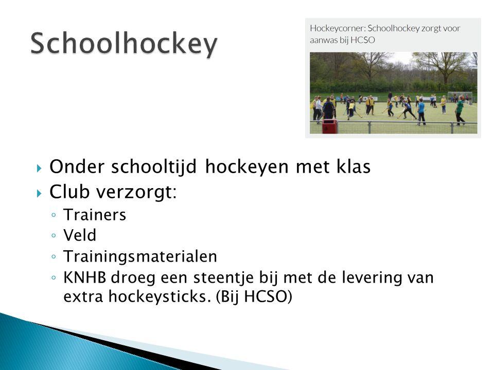 Schoolhockey Onder schooltijd hockeyen met klas Club verzorgt: