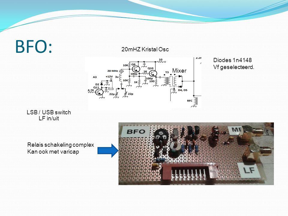 BFO: 20mHZ Kristal Osc Diodes 1n4148 Vf geselecteerd. Mixer