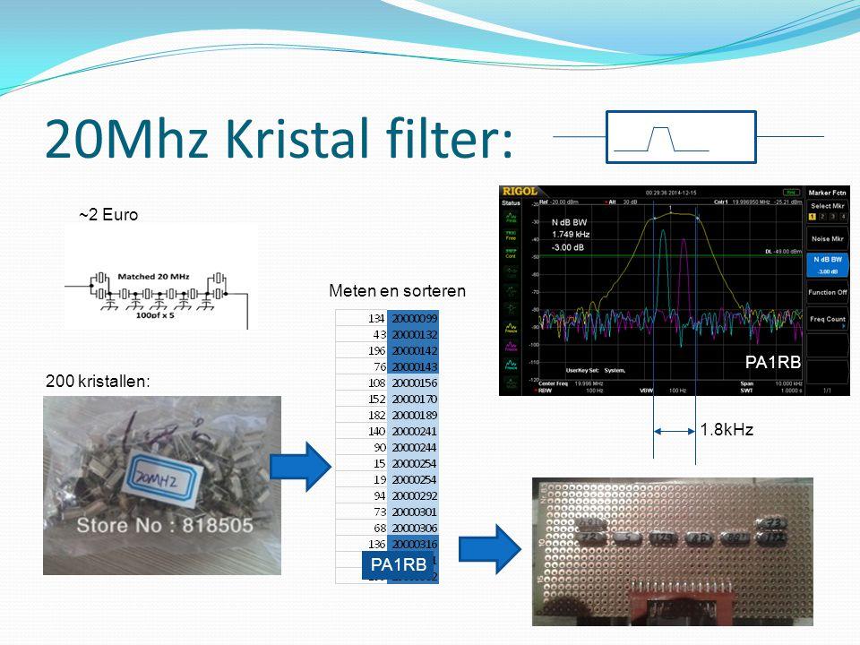 20Mhz Kristal filter: ~2 Euro Meten en sorteren PA1RB 200 kristallen: