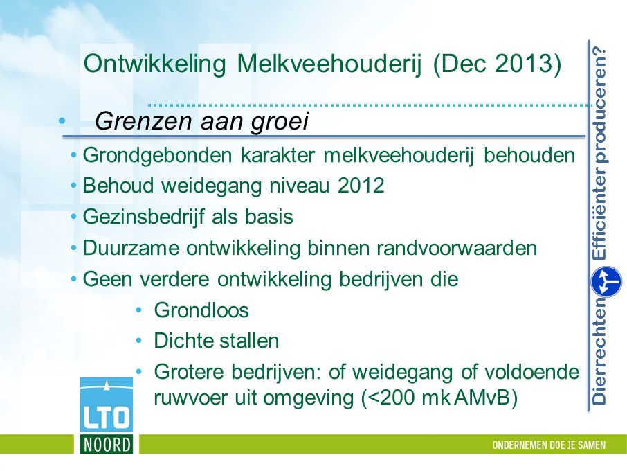 Ontwikkeling Melkveehouderij (Dec 2013)