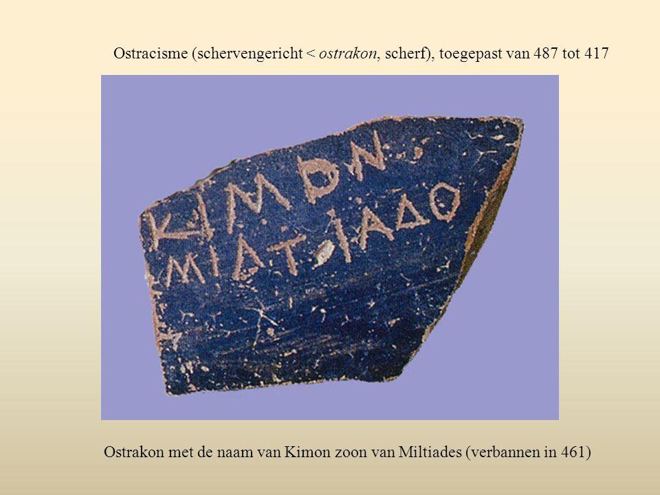 Ostracisme (schervengericht < ostrakon, scherf), toegepast van 487 tot 417
