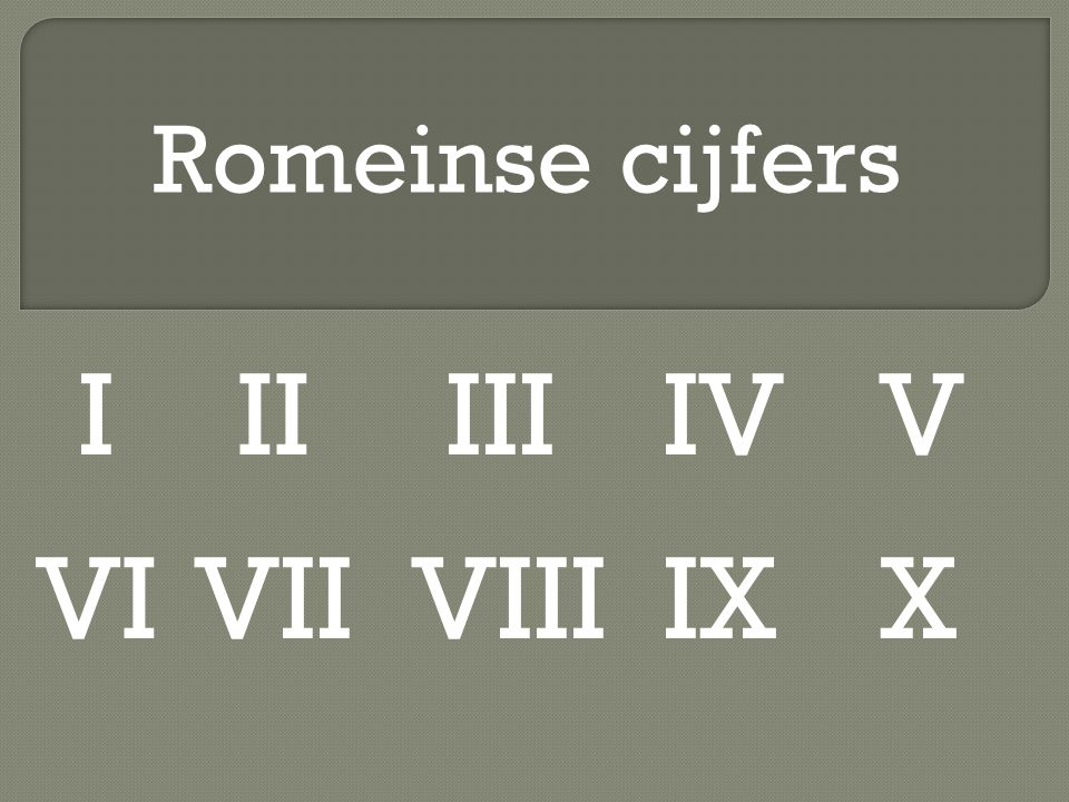 Romeinse cijfers I II III IV V VI VII VIII IX X