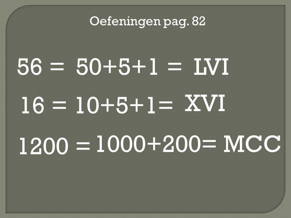 56 = 50+5+1 = LVI XVI 16 = 10+5+1= 1000+200= MCC 1200 =