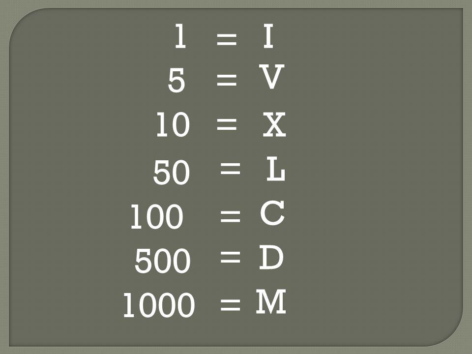 1 I = V 5 = 10 = X = L 50 C 100 = = D 500 M 1000 =