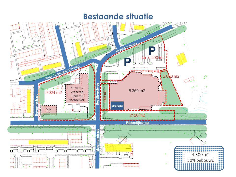 P P Bestaande situatie 4.500 m2 50% bebouwd ca. 6.500 m2 2.000 m2