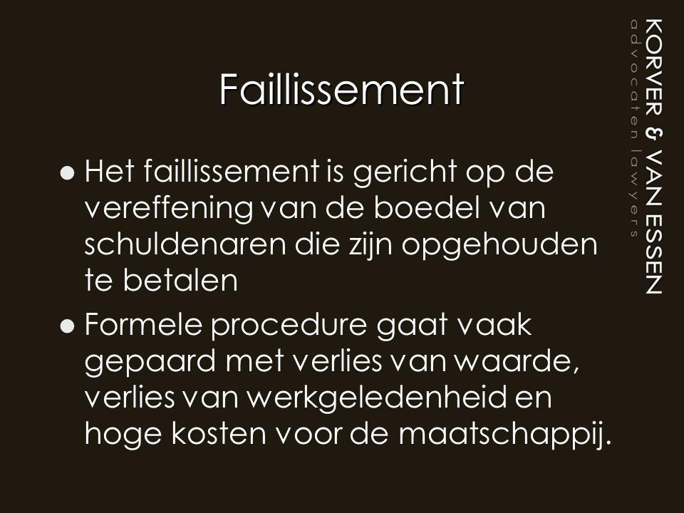 Faillissement Het faillissement is gericht op de vereffening van de boedel van schuldenaren die zijn opgehouden te betalen.
