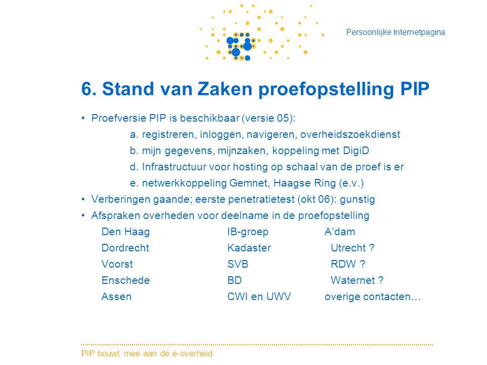 6. Stand van Zaken proefopstelling PIP