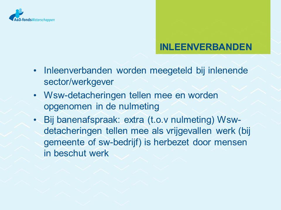 Inleenverbanden Inleenverbanden worden meegeteld bij inlenende sector/werkgever. Wsw-detacheringen tellen mee en worden opgenomen in de nulmeting.