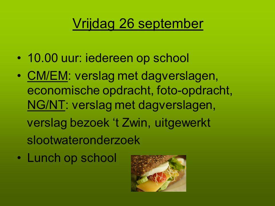 Vrijdag 26 september 10.00 uur: iedereen op school
