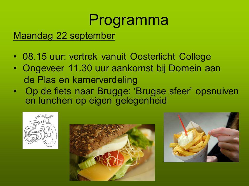 Programma Maandag 22 september