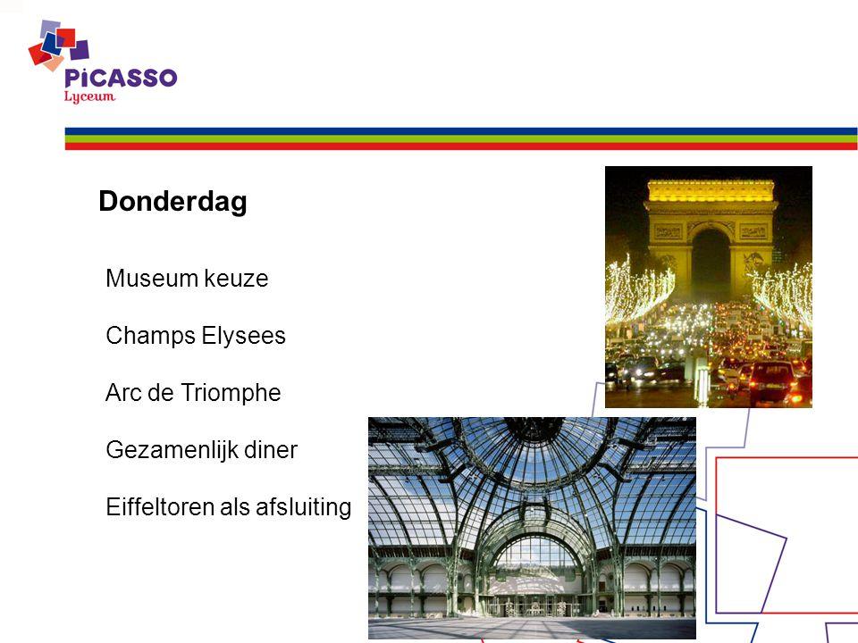 Donderdag Museum keuze Champs Elysees Arc de Triomphe