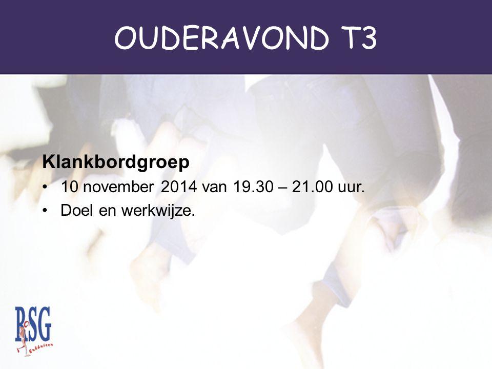 OUDERAVOND T3 Klankbordgroep 10 november 2014 van 19.30 – 21.00 uur.