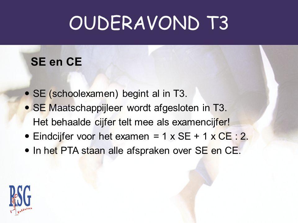 OUDERAVOND T3 SE en CE SE (schoolexamen) begint al in T3.