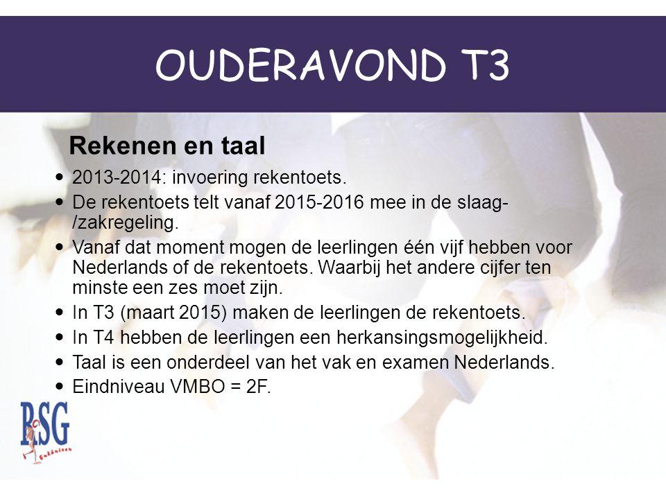 OUDERAVOND T3 Rekenen en taal 2013-2014: invoering rekentoets.