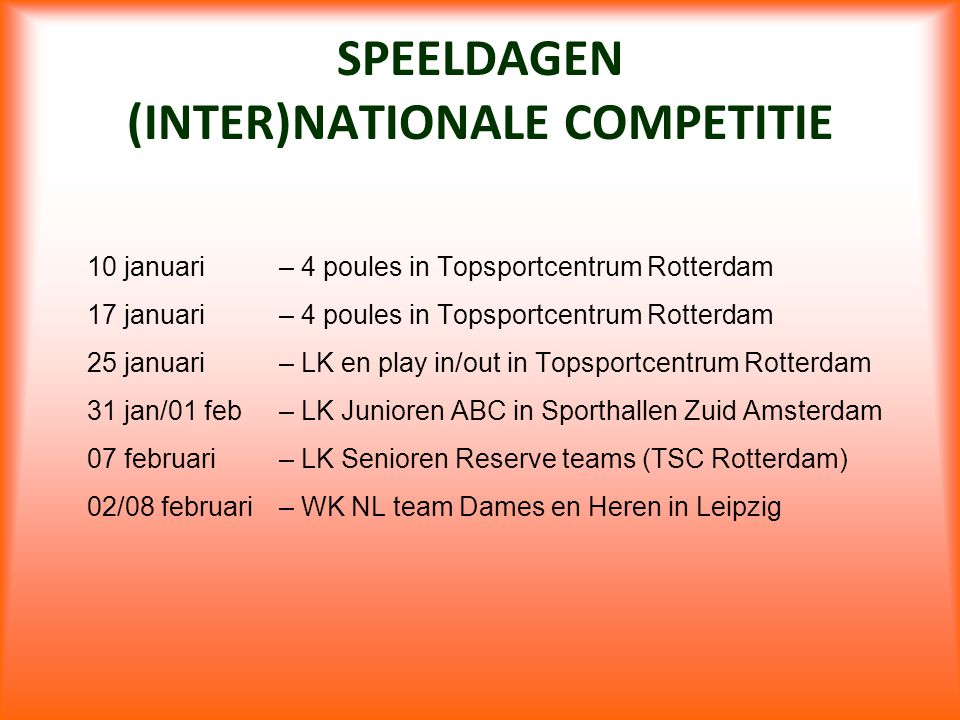 SPEELDAGEN (INTER)NATIONALE COMPETITIE