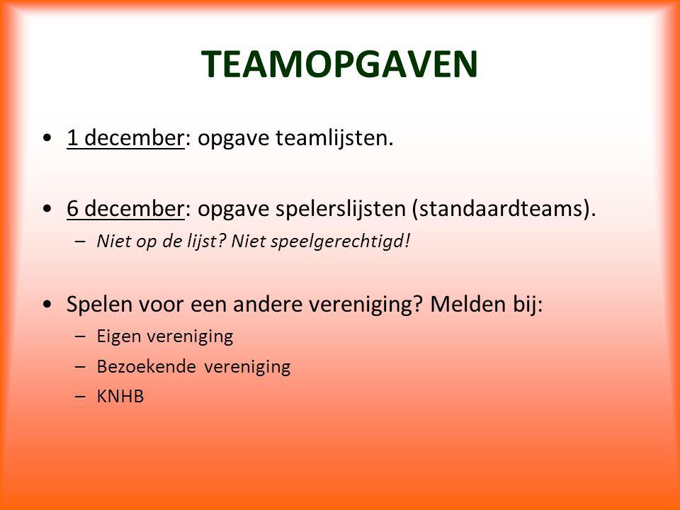 TEAMOPGAVEN 1 december: opgave teamlijsten.