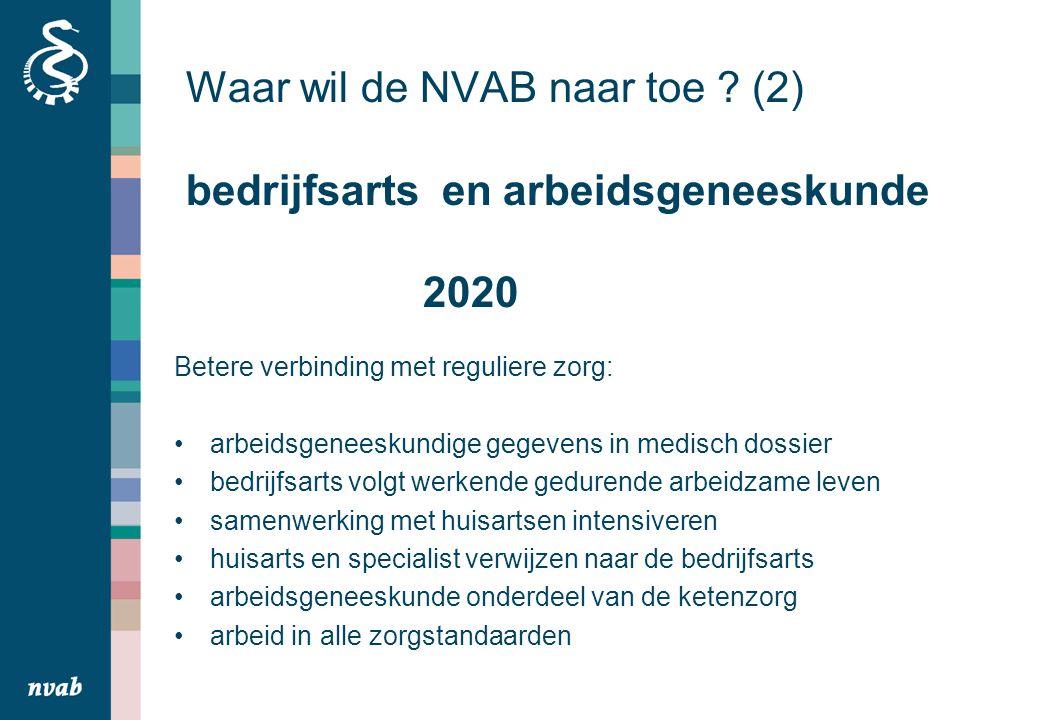 Waar wil de NVAB naar toe (2) bedrijfsarts en arbeidsgeneeskunde 2020