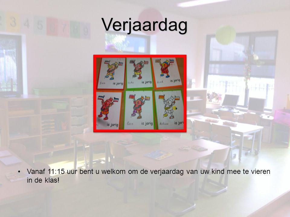 Verjaardag Vanaf 11:15 uur bent u welkom om de verjaardag van uw kind mee te vieren in de klas!