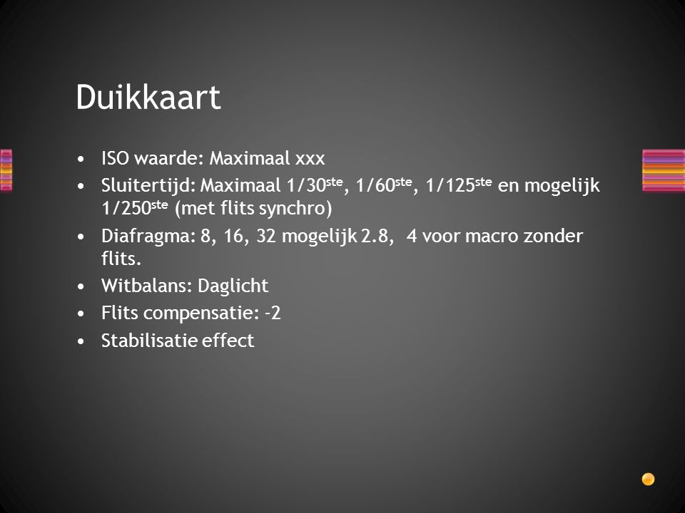 Duikkaart ISO waarde: Maximaal xxx