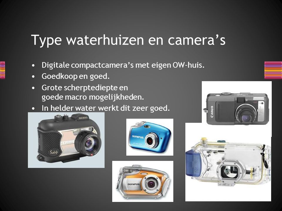 Type waterhuizen en camera's